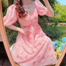 Dress Summer 2020 Pink S,M,L longuette singleton  Short sleeve Sweet V-neck High waist Decor Socket other routine Others 18-24 years old Type H Other / other 30% and below other other solar system