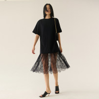 Dress Spring 2021 Black spot S,M,L,XL Middle-skirt singleton  Short sleeve commute Crew neck Solid color Socket routine 30-34 years old Type H Insect TE1CLY012 cotton