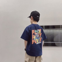 T-shirt White, Navy, white reservation, Navy reservation Other / other 110cm / 110, 120cm / 120, 130cm / 130, 140cm / 140, 150cm / 150, 160cm / 160, 170cm / 170 male summer Short sleeve Crew neck National tide There are models in the real shooting nothing cotton Cartoon animation Cotton 90% other 10%