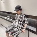 suit Other / other Black and white check 120cm / 120, 130cm / 130, 140cm / 140, 150cm / 150, 160cm / 160, 170cm / 170 male summer leisure time Short sleeve + pants 2 pieces Thin money There are models in the real shooting Single breasted nothing lattice cotton --