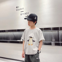 T-shirt Light grey penguin, dark grey bear, light grey Penguin reservation, dark grey bear reservation Other / other 120cm / 120, 130cm / 130, 140cm / 140, 150cm / 150, 160cm / 160, 170cm / 170 male summer Short sleeve Crew neck Cool There are models in the real shooting nothing cotton --