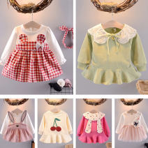 Dress female Other / other 73cm,80cm,90cm,100cm Cotton 95% other 5% spring and autumn Korean version Long sleeves Cartoon animation cotton A-line skirt Class A 3 months, 12 months, 6 months, 9 months, 18 months, 2 years old, 3 years old Chinese Mainland