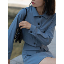 Fashion suit Autumn 2020 S,M,L Black top, black skirt, blue top, blue skirt 18-25 years old LOVEHEYNEW D32k-m102 pocket skirt suit 51% (inclusive) - 70% (inclusive) polyester fiber