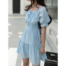 Dress Spring 2021 White, blue Average size Mid length dress singleton  commute High waist Solid color 18-24 years old Type A LOVEHEYNEW Korean version E51t-2692 Pleated Dress