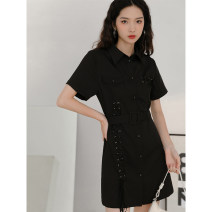 Dress Summer 2020 S,M,L Mid length dress singleton  Short sleeve commute other High waist Solid color Socket other other Others 18-24 years old Type A LOVEHEYNEW Korean version other other