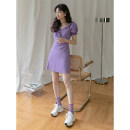 Dress Summer 2021 White, purple S, M singleton  Short sleeve commute other High waist Solid color Socket other other Others 18-24 years old Type A LOVEHEYNEW Korean version Mxe59o-2092 double Sheng dress other cotton
