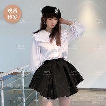 skirt Spring 2021 Short skirt Versatile Natural waist Fluffy skirt Solid color Type A YZK-S21SK036 More than 95% polyester fiber