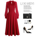 Dress Spring 2021 Black, red S,M,L,XL Mid length dress Fake two pieces Long sleeves commute stand collar High waist Solid color Socket A-line skirt puff sleeve Type A Retro Bandage, stitching C6076 51% (inclusive) - 70% (inclusive) other polyester fiber