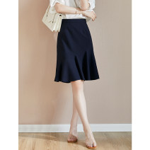 skirt Autumn 2020 XXL,S,M,L,XL Navy Blue Mid length dress commute High waist A-line skirt Solid color Type A D3327 71% (inclusive) - 80% (inclusive) other Jane diffuse / minimalist polyester fiber Ruffle, zipper, stitching Ol style