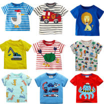 T-shirt Other / other neutral summer Short sleeve Crew neck leisure time No model nothing cotton Cartoon animation Cotton 95% other 5% Sweat absorption 12 months, 18 months, 2 years old, 3 years old, 4 years old, 5 years old, 6 years old, 7 years old