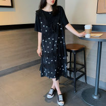 Dress Summer 2021 Black (stock) S,M,L,XL,2XL,3XL Mid length dress Fake two pieces Short sleeve commute Crew neck Loose waist routine Others Type H Hyyzqyp / Han Yiye Zhiqiu clothing shop Korean version fold