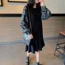 Dress Spring 2021 Black stitching (in stock) S,M,L Mid length dress Fake two pieces Long sleeves commute Crew neck Loose waist lattice Socket Ruffle Skirt routine Others Type H Qi Yixin Korean version other