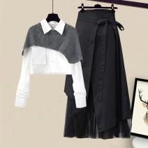 Fashion suit Spring 2021 S,M,L,XL,XXL Single white shirt, single black skirt, white shirt + grey shawl, apricot shirt + camel shawl, white shirt + grey shawl + skirt, apricot shirt + camel shawl + skirt 18-25 years old #832