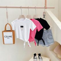 T-shirt Black ~, white ~, rose pink~ Other / other Hang tag 5 / 100, recommended height 90cm, hang tag 7 / 110, recommended height 100cm, hang tag 9 / 120, recommended height 110cm, hang tag 11 / 130, recommended height 120cm, hang tag 13 / 140, recommended height 130cm female summer Short sleeve