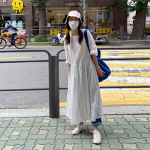Dress Summer 2021 Off white S,M,L longuette singleton  Long sleeves commute Crew neck Loose waist Solid color A button Pleated skirt other Others Type H Korean version 31% (inclusive) - 50% (inclusive) other hemp