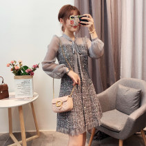 Dress Autumn of 2019 Gray, black M,L,XL,2XL Short skirt singleton  Long sleeves street other Loose waist Solid color zipper A-line skirt other Others Type A Stitching, lacing More than 95% other other Europe and America