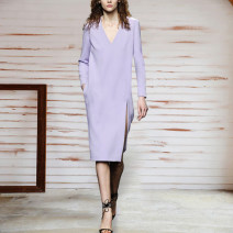 Dress Spring 2021 lilac colour S,M,L Middle-skirt singleton  Long sleeves street V-neck Solid color zipper routine Type H Europe and America