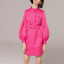 Dress Spring of 2019 rose red S,M,L Short skirt Nine point sleeve Sweet Polo collar High waist Solid color zipper bishop sleeve Type H D18032610 Ruili