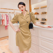 Dress Summer 2021 Khaki, black, white, blue, black long sleeve, khaki long sleeve XS,S,M,L,XL,2XL Middle-skirt singleton  Short sleeve commute tailored collar High waist Solid color Socket Irregular skirt routine Others Type H Queen's family Retro LYQ20530 71% (inclusive) - 80% (inclusive) other
