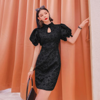 Dress Spring 2021 black S,M,L,XL Mid length dress singleton  Short sleeve commute other Solid color other A-line skirt puff sleeve Others Type H Queen's family Korean version 31% (inclusive) - 50% (inclusive) other