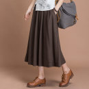 skirt Autumn of 2018 Average size Mid length dress commute High waist A-line skirt Solid color Type A 30% and below Elu  hemp Retro
