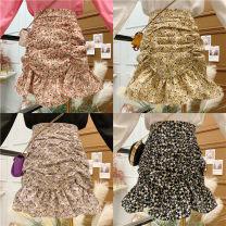 skirt Spring 2021 S,M,L,XL Black, yellow, purple, pink Short skirt commute High waist A-line skirt Broken flowers [201] Chiffon Korean version