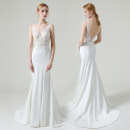 Wedding dress Summer 2020 milky white Simplicity Fish tail Lace Hotel Interior Deep collar V soft silk fabric in satin weave Three dimensional cutting middle-waisted 25-35 years old
