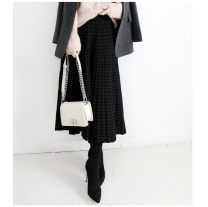 skirt Winter of 2018 Average size Lattice, flash bar design Mid length dress commute Natural waist A-line skirt lattice Type A 31% (inclusive) - 50% (inclusive) knitting wool Ol style