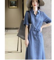 Dress Summer 2020 Light blue, dark blue S,M,L,XL Mid length dress singleton  elbow sleeve commute square neck Single breasted A-line skirt routine Ol style More than 95%