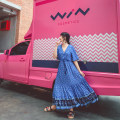 Dress Autumn of 2019 Red, blue, green S,M,L,XL longuette singleton  elbow sleeve V-neck Elastic waist Decor A button Big swing pagoda sleeve Others Tassels, buttons, prints