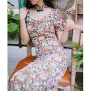 cheongsam Summer 2020 S,M,L,XL,XXL Fragrance of flowers Short sleeve long cheongsam lady No slits daily Round lapel Broken flowers 18-25 years old Piping