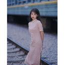 cheongsam Summer 2020 S,M,L,XL,XXL,XXXL Cherry Blossom powder Short sleeve long cheongsam literature High slit daily Oblique lapel 18-25 years old Piping cotton