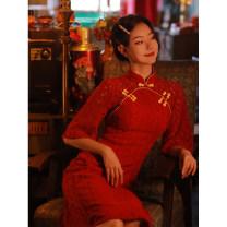 cheongsam Autumn 2020 S,M,L,XL,XXL Spend time alone three quarter sleeve long cheongsam Retro High slit daily Solid color 25-35 years old TQX-2122
