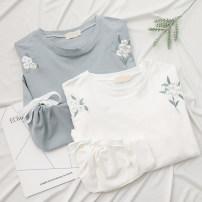 Sweater / sweater Spring 2021 White, blue Single code Long sleeves routine Socket singleton  routine Crew neck easy Sweet routine Plants and flowers 96% and above Other / other cotton solar system