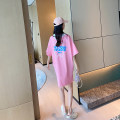 Dress AROOM Pink, white, orange Average size Korean version Short sleeve Medium length summer Lapel Animal design cotton N51-28