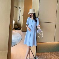 Dress AROOM Pink, blue, black M,L,XL Korean version Short sleeve Medium length summer square neck Solid color cotton N51-13