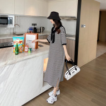 Dress AROOM Black, navy blue Average size Korean version Short sleeve have more cash than can be accounted for summer Crew neck stripe cotton N50-6