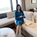 Dress AROOM Sapphire blue, apricot, black M,L,XL,XXL Korean version Long sleeves Medium length spring Crew neck Solid color Chiffon N46-14