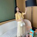 suit AROOM Black suit, yellow suit M,L,XL,XXL Korean version Short sleeve + skirt summer Thin money Solid color N51-23