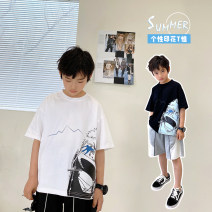 T-shirt White, black Other / other 130, 140, 150, 160, 170 male summer Short sleeve Crew neck Korean version There are models in the real shooting nothing cotton other Cotton 95% other 5% Class B other Chinese Mainland Guangdong Province Guangzhou City