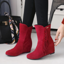 Boots 34 35 36 37 38 39 Light brown red black Xishirong Other / other High heel (5-8cm) Internal elevation Xishirong Middle cylinder Round head Artificial short plush Artificial short plush Fall 2017 Sleeve leisure time rubber Solid color Tassel boots Sewing shoes Artificial short plush tassels