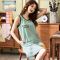 Nightdress Mz10 / 10 per week S M L XL XXL XXXL Sweet Sleeveless pajamas Middle-skirt summer Solid color youth Crew neck cotton printing More than 95% pure cotton 200g and below Spring 2020 Triacetate fiber (triacetate fiber) 100% Triacetate fiber (triacetate fiber) 100%