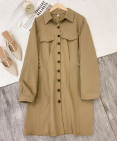 Dress Spring 2021 Apricot, khaki, coffee M,L,XL longuette singleton  Long sleeves commute High waist Solid color Single breasted A-line skirt routine 25-29 years old Type A D.SIXTH Button