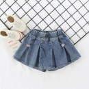 skirt Hang tag size 7 (recommended height 85CM), hang tag size 9 (recommended height 95cm), hang tag size 11 (recommended height 105cm), hang tag size 13 (recommended height 115cm), hang tag size 15 (recommended height 125cm) Blue pleated skirt pants Other / other female Cotton 100% summer