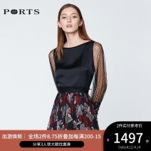 shirt BLACK 2,4,6,8,10,12 Summer of 2019 polyester fiber 96% and above Long sleeves commute Regular Crew neck Socket routine other 30-34 years old Self cultivation Ports Ol style