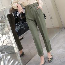 Casual pants Green, black, orange pink S,M,L,XL Spring 2021 Ninth pants Straight pants High waist commute routine 25-29 years old Korean version belt