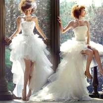 Wedding dress Spring 2021 Short in front and long in back (tail can't be removed), short in front and long in back (tail can be removed) Xs, s, m, l, XL, XXL, XXXL, XXS, customized, color change customized Korean version Front short rear drag Bandage Outdoor Lawn  Chest type satin middle-waisted
