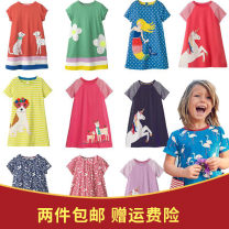Dress female jumping meters 90cm,95cm,100cm,110cm,120cm,130cm Cotton 100% summer Short sleeve Cartoon animation cotton A-line skirt 12 months, 18 months, 2 years old, 3 years old, 4 years old, 5 years old, 6 years old