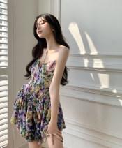 Dress Summer 2021 Floral skirt (in stock) S, M Short skirt singleton  Sleeveless commute V-neck High waist Broken flowers Socket A-line skirt routine camisole 18-24 years old Type A Korean version 31% (inclusive) - 50% (inclusive) other polyester fiber