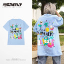 T-shirt Youth fashion sky blue routine S,M,L,XL,2XL,3XL HEYBIG Short sleeve Crew neck easy Home summer Cotton 100% teenagers routine Hip hop 2021 printing Designer brand